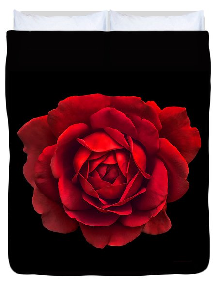 Black White Red Roses Abstract Duvet Cover