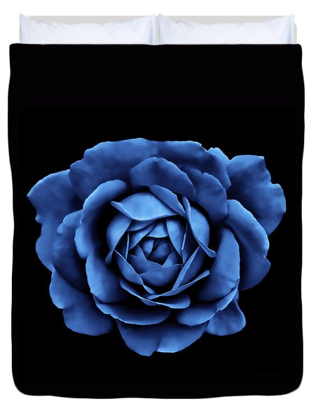 Blue White Red Roses Abstract Duvet Cover