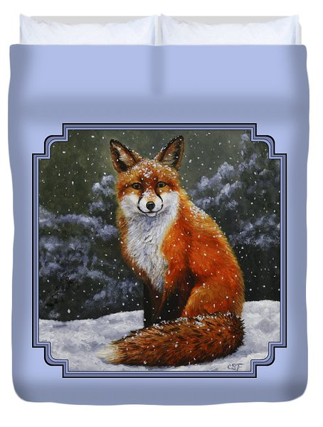 Snow Fox Duvet Cover by Crista Forest