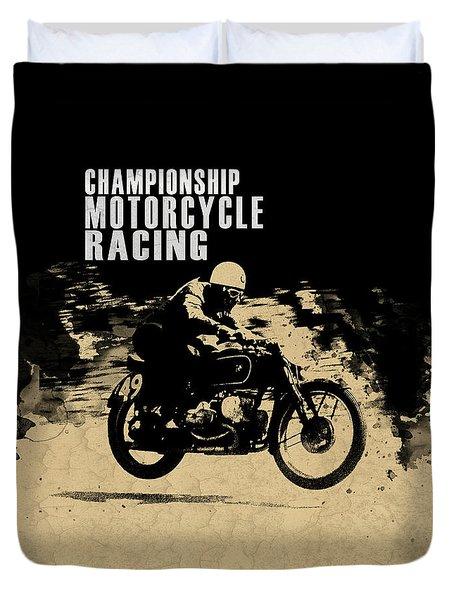 Crystal Palace Motorcycle Racing Duvet Cover by Mark Rogan