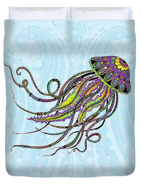 Duvet Cover featuring the drawing Electric Jellyfish by Tammy Wetzel