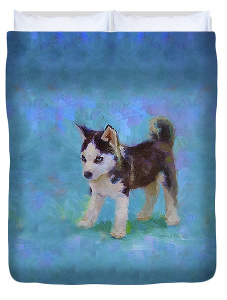 Alaskan Husky Sled Dog Puppy Duvet Cover