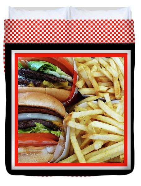 All American Cheeseburgers And Fries Duvet Cover by Methune Hively