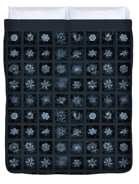 Duvet Cover featuring the photograph Snowflake Collage - Season 2013 Dark Crystals by Alexey Kljatov