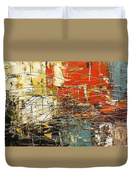 Duvet Cover featuring the painting Artylicious by Carmen Guedez