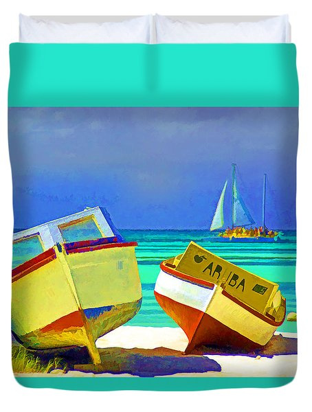 Duvet Cover featuring the photograph Aruba Boats by Dennis Cox WorldViews