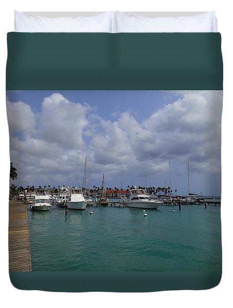 Duvet Cover featuring the photograph Aruba Marina by Lois Lepisto