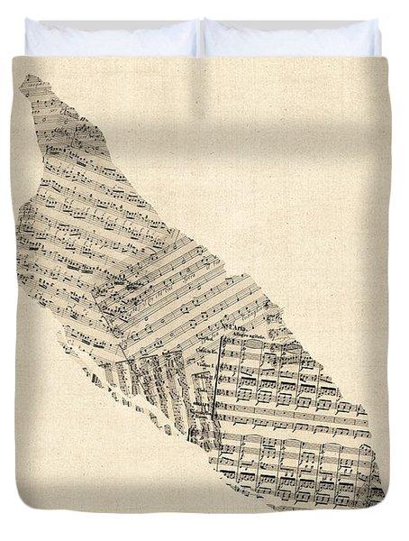 Aruba Old Sheet Music Map Duvet Cover