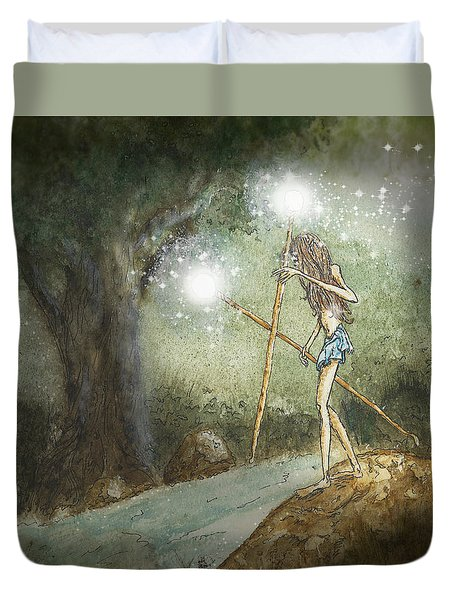 Aryaz Elf On River's Edge Duvet Cover