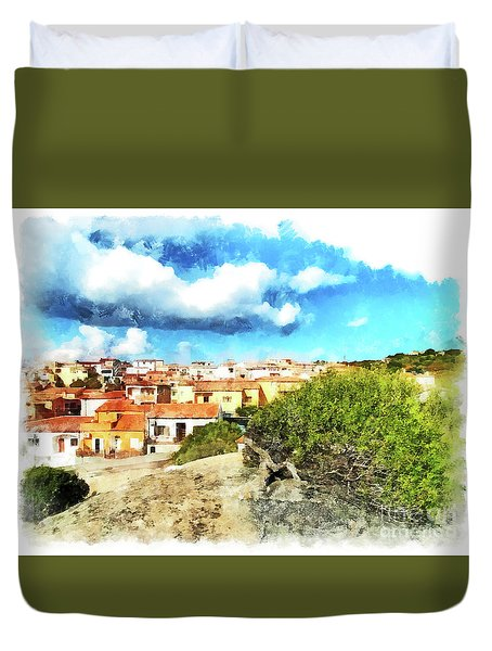 Arzachena Landscape With Clouds Duvet Cover