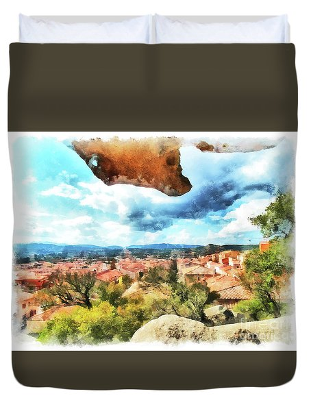 Arzachena Landscape With Rock Snd Clouds Duvet Cover