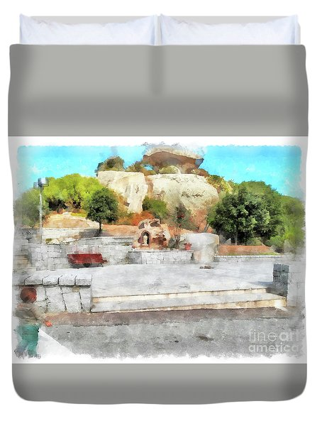 Arzachena Mushroom Rock With Children Duvet Cover