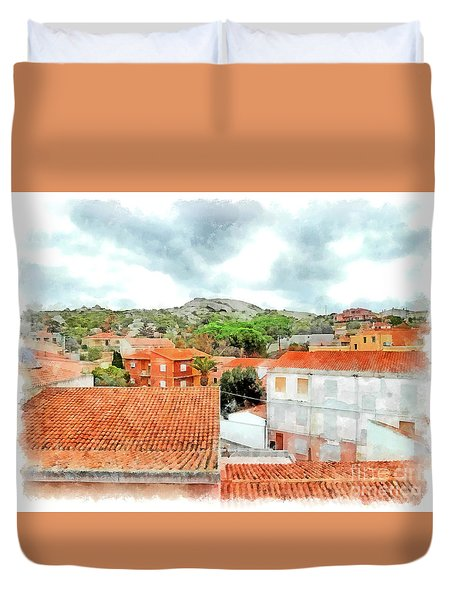 Arzachena Urban Landscape With Mountain Duvet Cover
