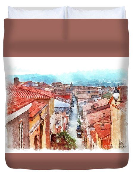 Arzachena View Of The Corso Garibaldi Duvet Cover