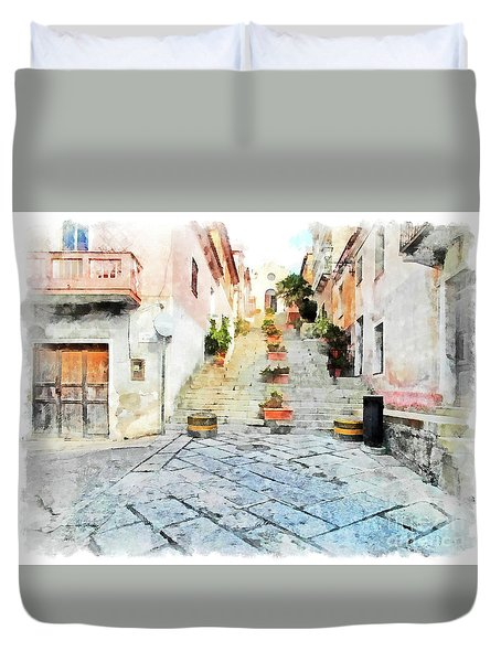Arzachena View Staircase And Church Duvet Cover