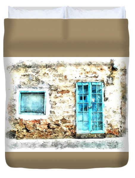 Arzachena Window And Blue Door Store Duvet Cover
