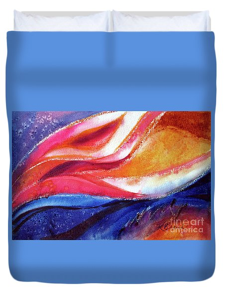Duvet Cover featuring the painting As I Bloom by Kathy Braud