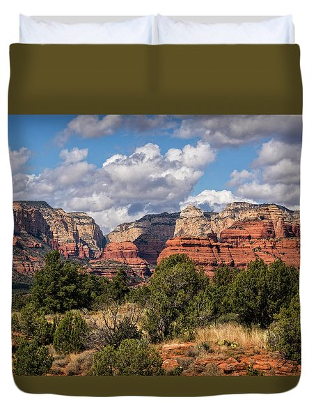Duvet Cover featuring the photograph As The Clouds Pass On By In Sedona  by Saija Lehtonen