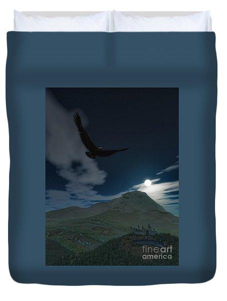 Duvet Cover featuring the digital art As The Eagle Flies by Dave Luebbert