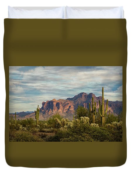 Duvet Cover featuring the photograph As The Evening Arrives In The Sonoran  by Saija Lehtonen