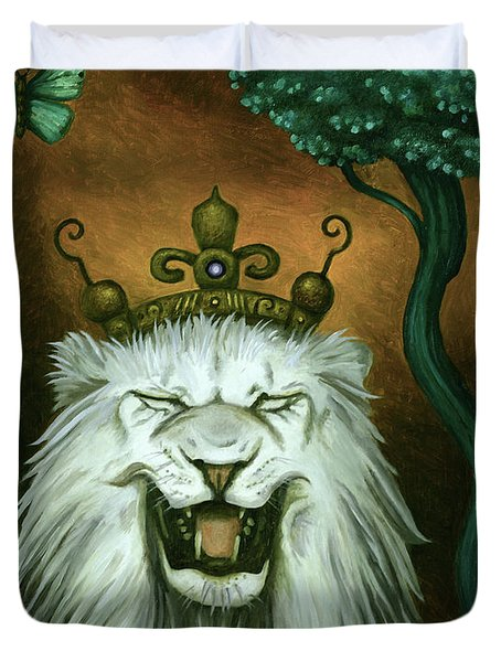 Duvet Cover featuring the painting As The Lion Laughs by Leah Saulnier The Painting Maniac