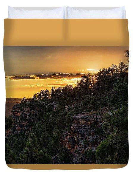 Duvet Cover featuring the photograph As The Sun Sets On The Rim  by Saija Lehtonen