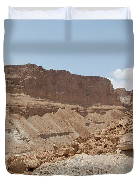 Duvet Cover featuring the photograph Ascension To Masada - Judean Desert, Israel by Yoel Koskas