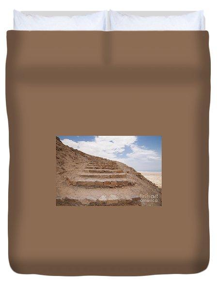 Duvet Cover featuring the photograph Stairway To Heaven - Masada, Judean Desert, Israel by Yoel Koskas