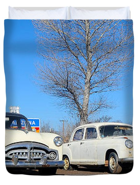 Ash Fork Vintage Cars Along Historic Route 66 Duvet Cover