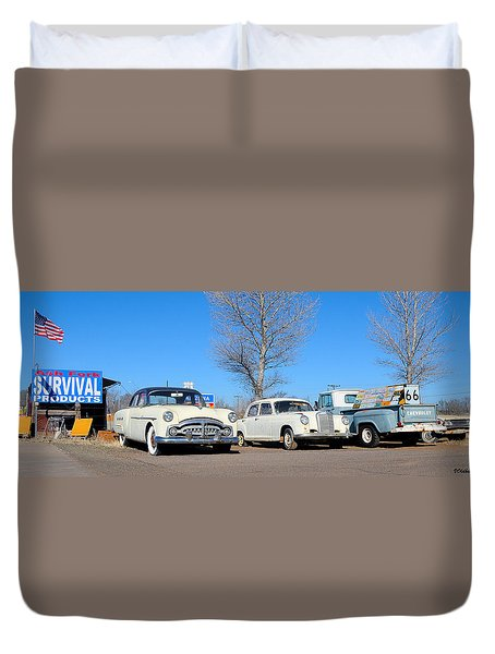 Ash Fork Vintage Cars Along Historic Route 66 Duvet Cover
