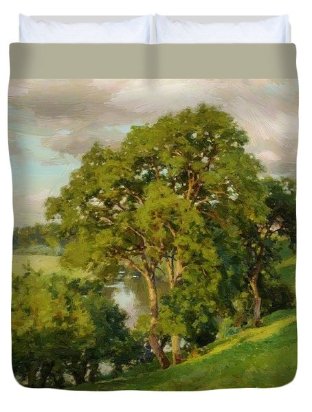 Ash Trees At Cropthorne Worcestershire Duvet Cover