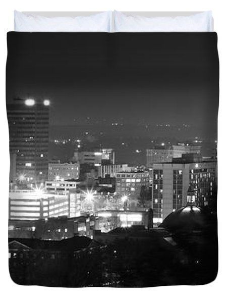 Asheville North Carolina Skyline Duvet Cover by Gray  Artus