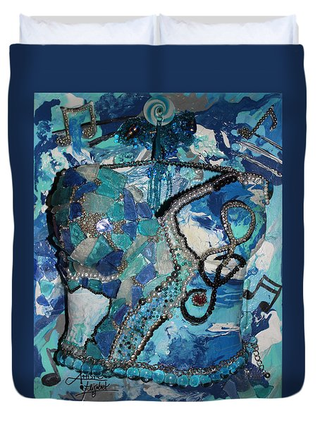 Ashley - Let The Music Play Supporter Duvet Cover