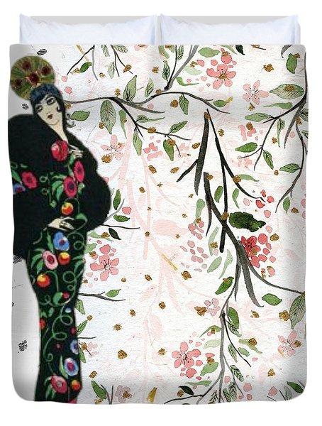 Asian Art Deco Beauty Duvet Cover