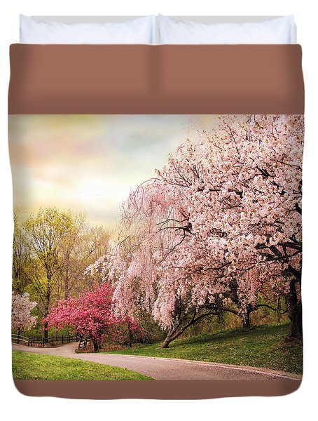 Asian Cherry Grove Duvet Cover by Jessica Jenney