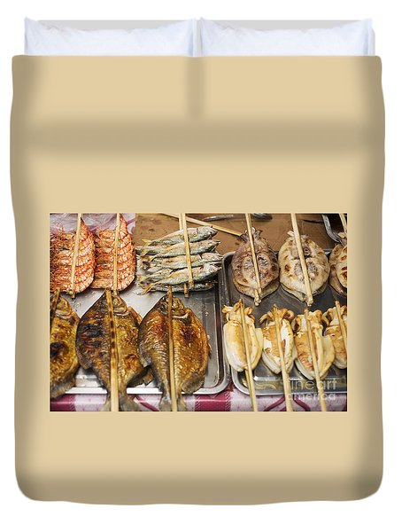 Asian Grilled Barbecued Seafood In Kep Market Cambodia Duvet Cover