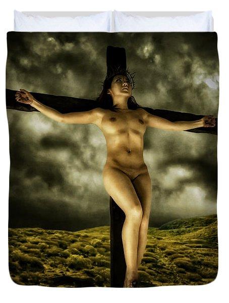 Asian Jesus Crucifix V Duvet Cover