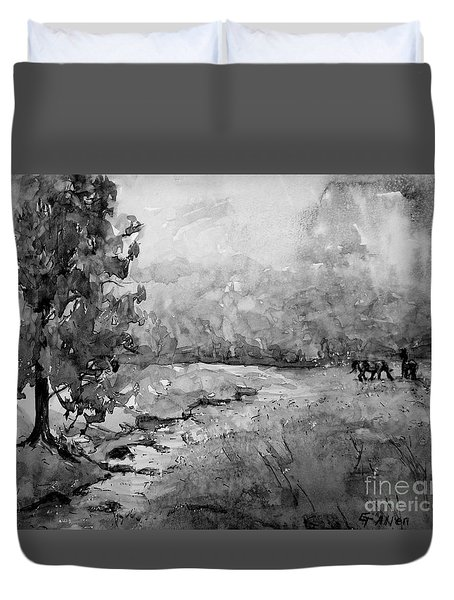 Aska Farm Horses In Bw Duvet Cover