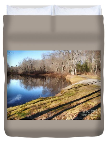 Duvet Cover featuring the photograph Aslant by Betsy Zimmerli