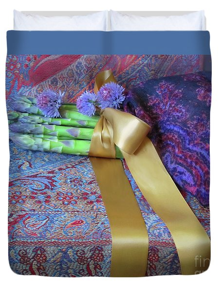 Duvet Cover featuring the photograph Asparagus And Cornflowers, Garden Blessings by Nancy Lee Moran