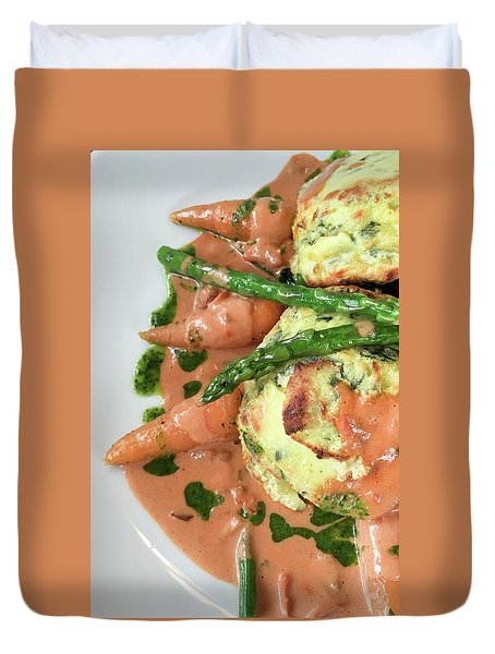 Asparagus Dish Duvet Cover by Tom Gowanlock