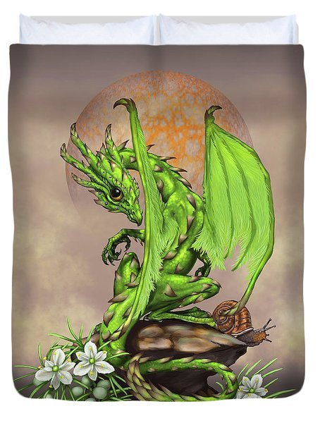 Duvet Cover featuring the digital art Asparagus Dragon by Stanley Morrison
