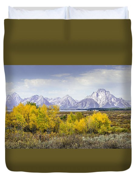 Aspen Gold In The Tetons Duvet Cover