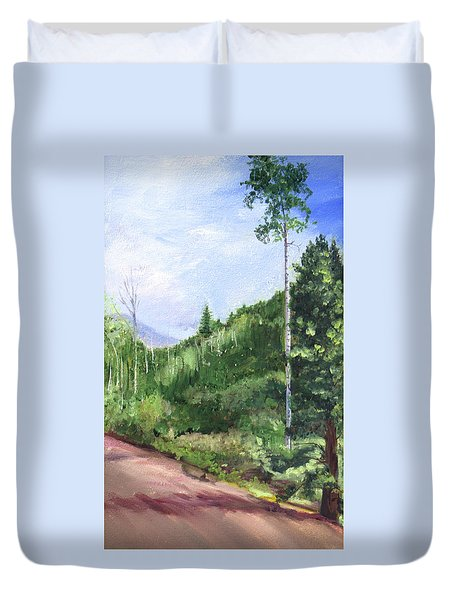 Duvet Cover featuring the painting Aspen Heaven by Jane Autry
