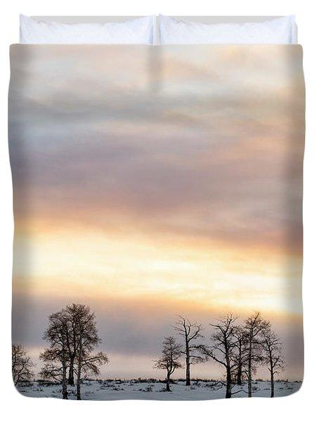 Aspen Hill At Sunset Duvet Cover