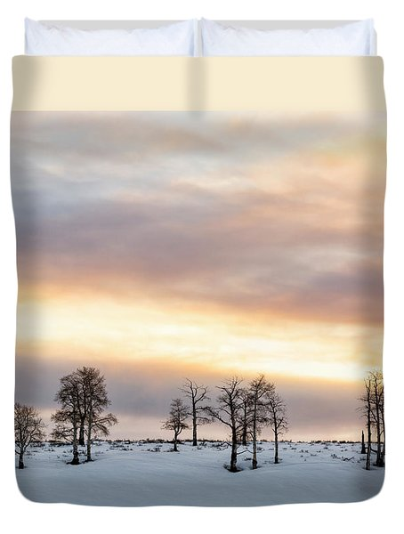 Aspen Hill At Sunset Duvet Cover