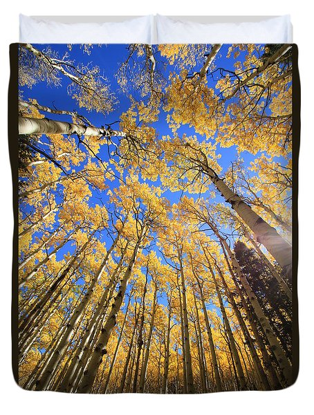 Duvet Cover featuring the photograph Aspen Hues by Tom Kelly