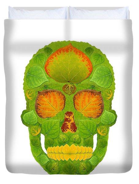 Aspen Leaf Skull 10 Duvet Cover by Agustin Goba