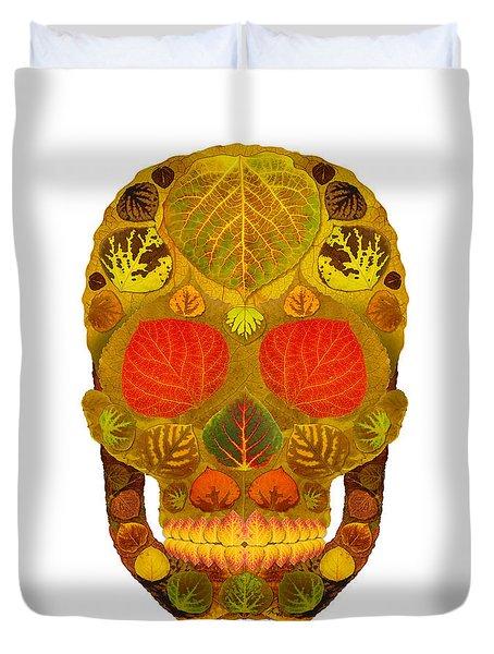 Aspen Leaf Skull 12 Duvet Cover by Agustin Goba