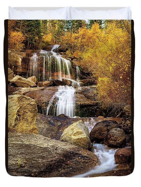 Aspen-lined Waterfalls Duvet Cover